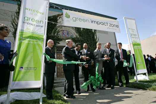 Cutting the ribbon for Kansas City's Green Impact Zone Assistance Office