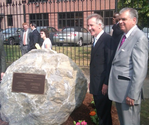 At dedication marker with Rep. Neal