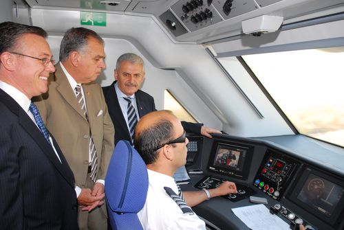 In the cab of Turkish HSR