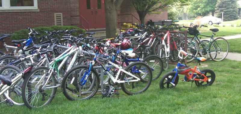 Schoolyard full of bikes