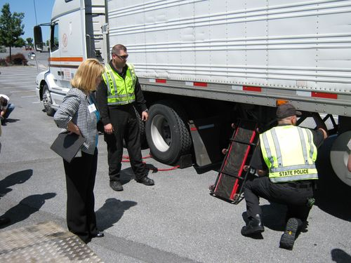 Inspecting a truck at Roadcheck 2010