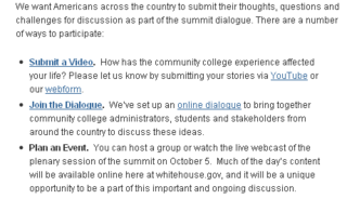 White House Summit on Community College