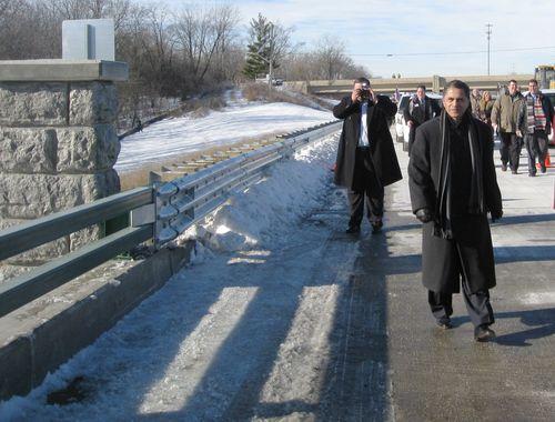 Administrator Mendez crossing new bridge