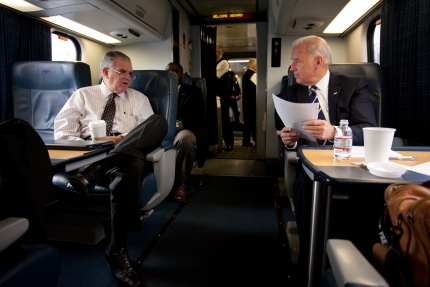 SecLaHood with VPBIden on Amtrak