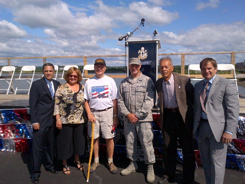 Victor Mendez and other at Veterans Memorial Bridge opening