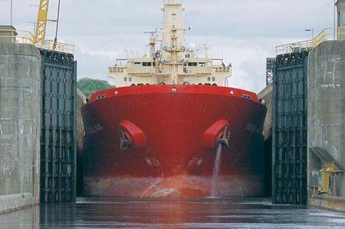 Vessel transiting lock