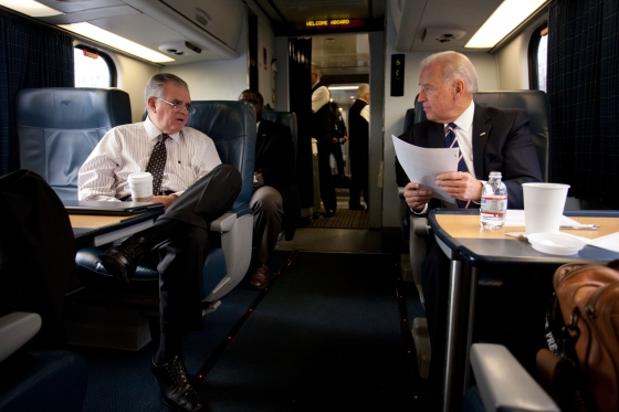 Working while riding with Vice President Biden