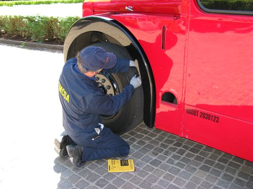 Checking the tire tread depth