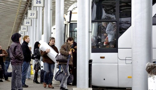 Boarding a motorcoach for holiday travel