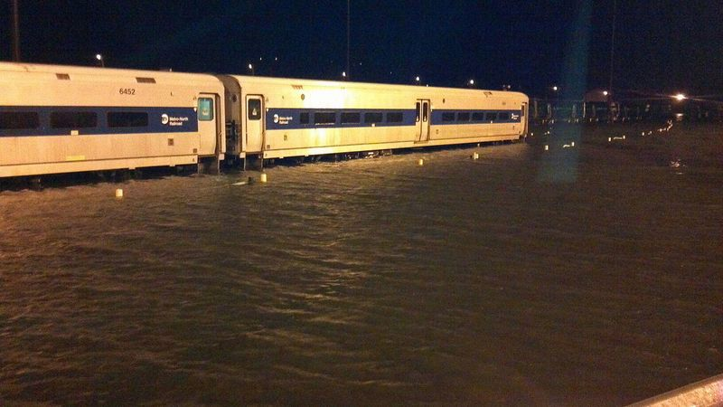 MTA trains submerged at Croton-Harmon station