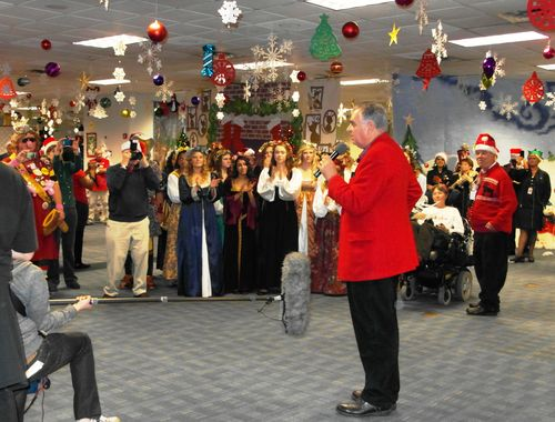 Photo of Secretary LaHood speaking to kids and adults at the North Pole