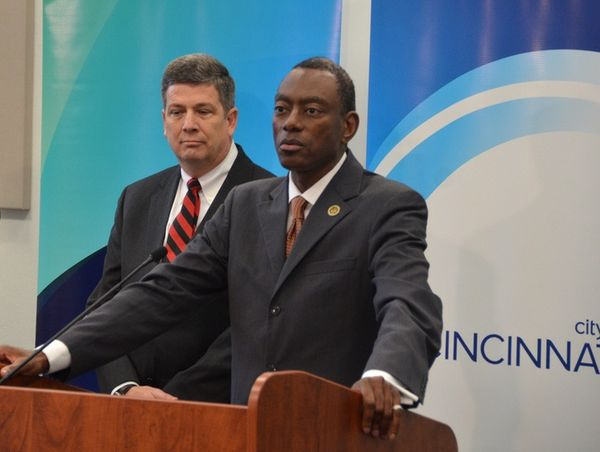 Cincinnati Mayor Mark Mallory speaking - with Deputy Secretary Porcari standing behind
