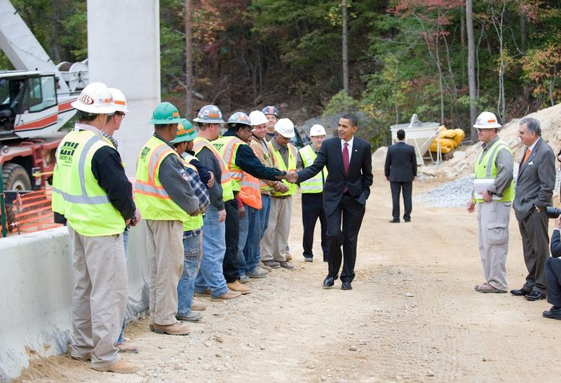 President Obama at a road project in Virginia
