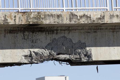 Bridge damaged by truck striking