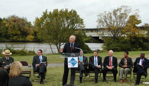 Interior Secretary Ken Salazar speaking at the trail design unveiling