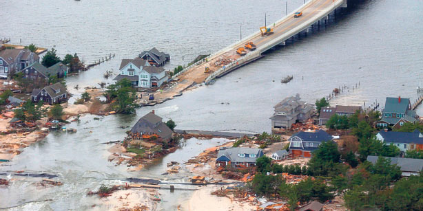 Damage on the coast of New Jersey
