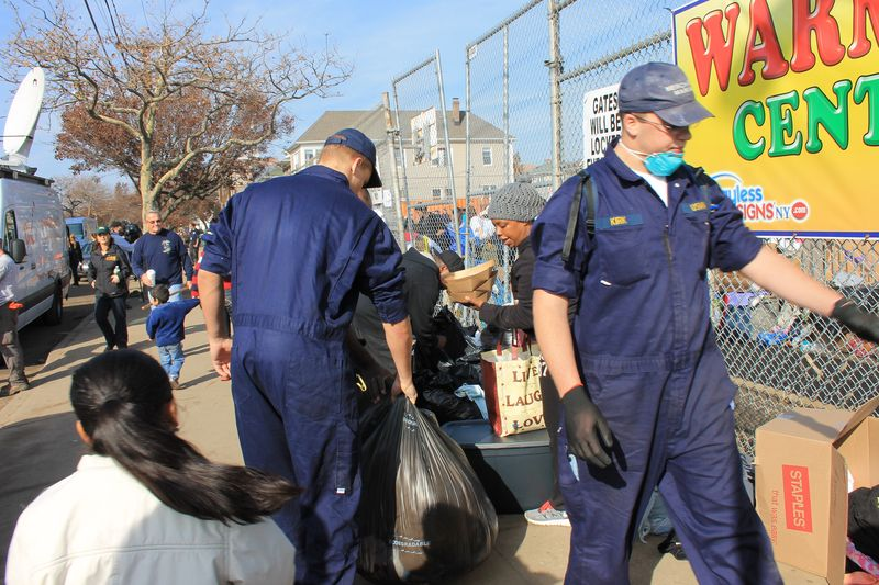 Midshipmen at work in Rockaways