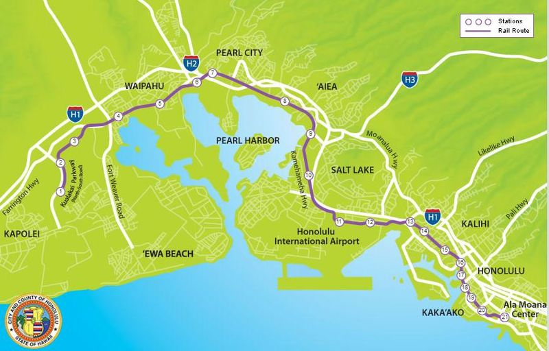 Honolulu rail transit map