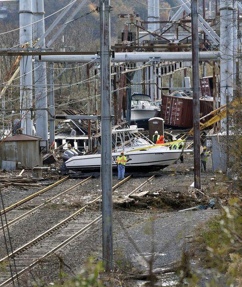 Boat on tracks post-Sandy