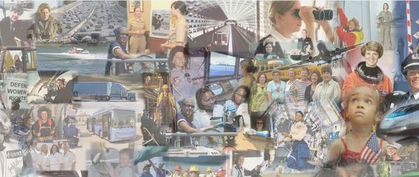 Photo collage of women in transportation