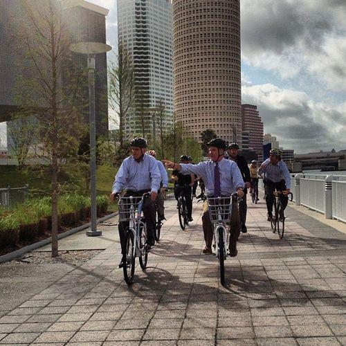Riding with Tampa mayor Bob Buckhorn