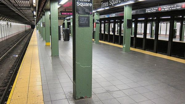 Times Square subway platform is unusually quiet