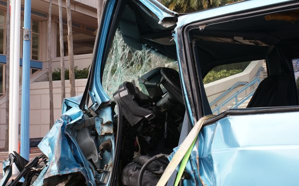 Wrecked vehicle from a distraction crash