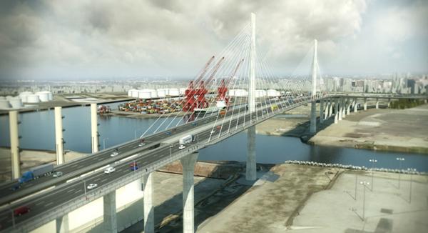 Artist rendering of the Gerald Desmond Bridge replacement