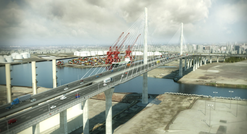 Artist rendering of the Gerald Desmond Bridge replacement