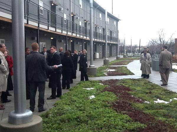 Housing in Indianapolis features rain garden