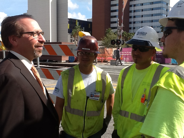 FTA Administrator Rogoff with SunRail workers