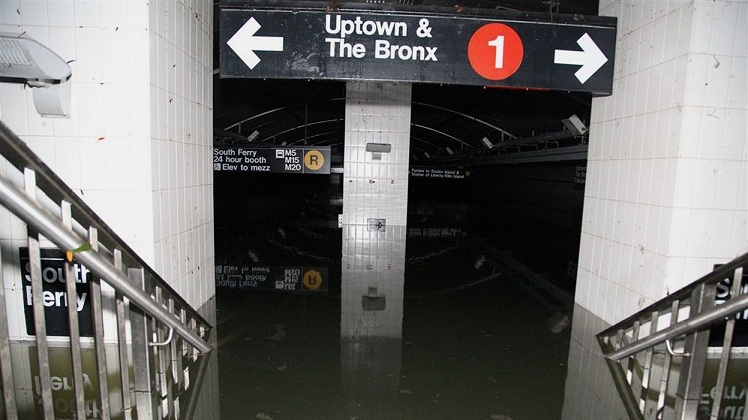 South Ferry entrance submerged