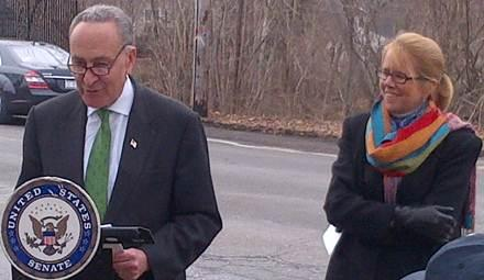 Senator Schumer and Administrator Ferro announcing latest FMCSA safety measures