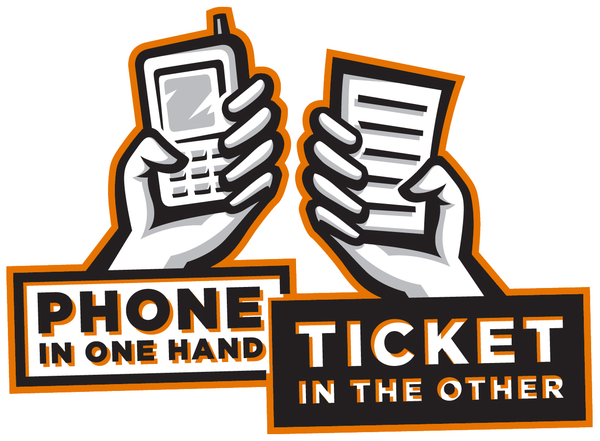 Phone in one hand - Ticket in the other