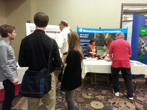 Attendees browse the expo
