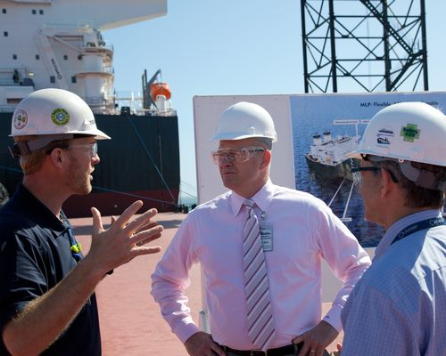 Photo of Acting Maritime Administrator Paul 'Chip' Jaenichen visiting one of the largest shipyards in the U.S., the General Dynamics NASSCO shipyard in San Diego