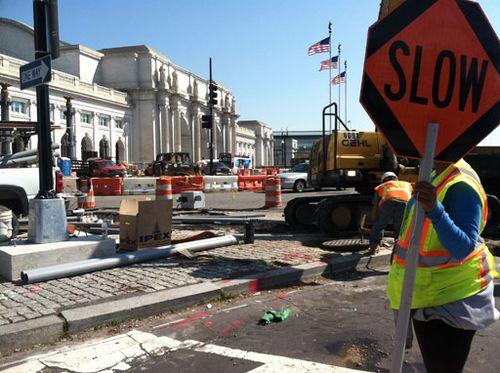 Construction on Columbus Circle