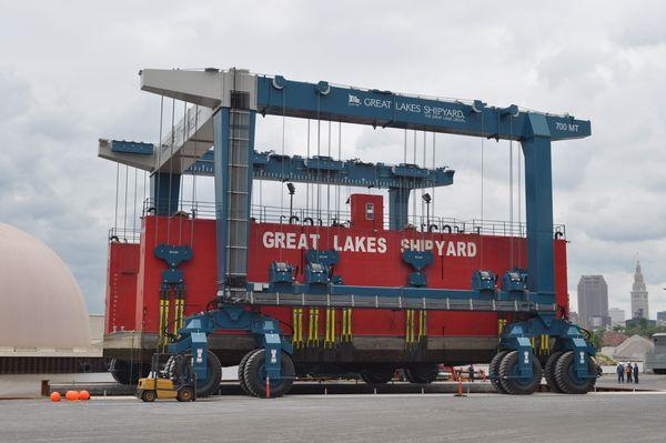 Hoist at Great Lakes shipyard