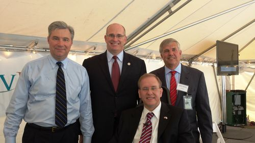 Photo of Rep. Jim Langevin, Sen. Sheldon Whitehouse, Acting Maritime Administrator Paul 'Chip' Jaenichen, and ProvPort Chief Operating Officer Bruce Waterson