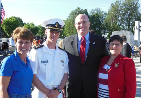 USMMA Cadet McGowan poses with his mother and Deputy Administrator and Mrs Jaenichen