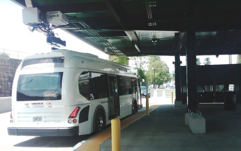 Electric bus charging at Bus Hub